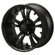 "15"" VAMPIRE Matte Black Aluminum Golf Cart Wheels - Set of 4"