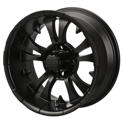 "15"" VAMPIRE Matte Black Aluminum Golf Cart Wheels - Set of 4"