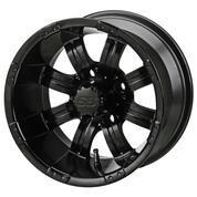 "15"" TEMPEST Matte Black Aluminum Golf Cart Wheels - Set of 4"