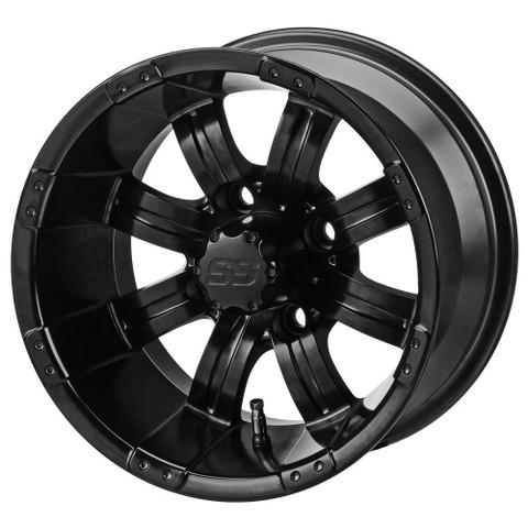"""15"""" TEMPEST Matte Black Aluminum Golf Cart Wheels - Set of 4"""