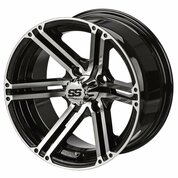 "15"" TERMINATOR Machined/ Black Aluminum Golf Cart Wheels - Set of 4"