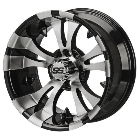 "15"" VAMPIRE Machined/ Black Aluminum Golf Cart Wheels - Set of 4"