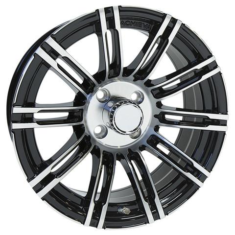 "15"" ACHIEVA AC538 Machined/Black Aluminum Golf Cart Wheels - Set of 4"