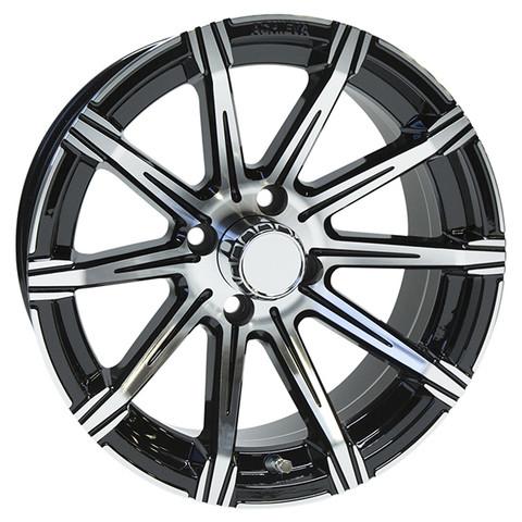 "15"" ACHIEVA AC598 Machined/Black Aluminum Golf Cart Wheels - Set of 4"