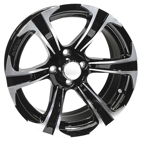 "15"" BLADE Machined/Black Aluminum Golf Cart Wheels - Set of 4"