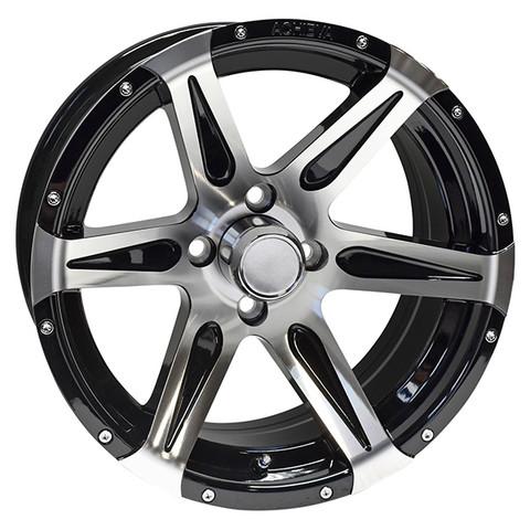 "15"" ACHIEVA AC618 Machined/Black Aluminum Golf Cart Wheels - Set of 4"