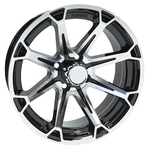 "15"" ACHIEVA AC599 Machined/Black Aluminum Golf Cart Wheels - Set of 4"
