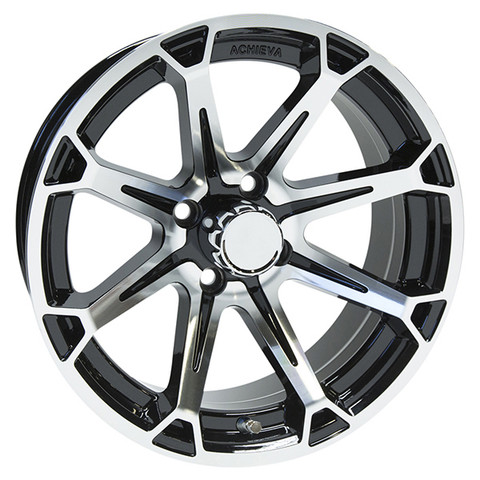 "15"" ACHIEVA AC599 Machined/Black Aluminum Golf Cart Wheels - Set of 4"