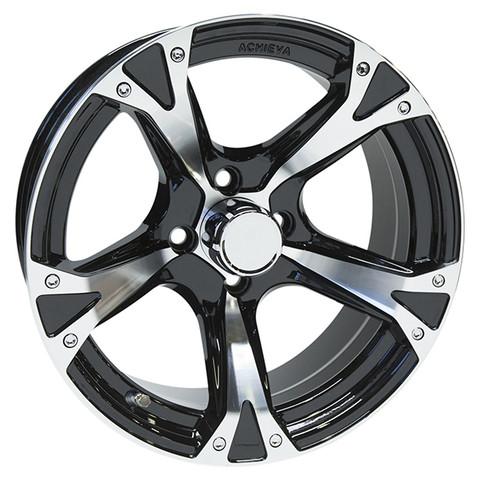 "15"" ACHIEVA AC508 Machined/Black Aluminum Golf Cart Wheels - Set of 4"