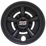 "SS Matte Black 8"" Golf Cart Hub Caps - Set of 4"