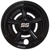 "SS Gloss Black 8"" Golf Cart Hub Caps - Set of 4"
