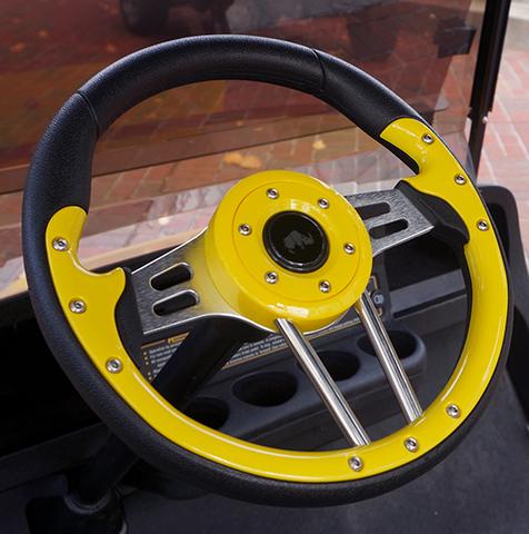 "Yamaha Golf Cart Steering Wheel 13"" Aviator4 Yellow Grip w/ Black Spokes"
