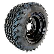 "10"" BLACK Steel Wheels and 18x9.5-10"" SAHARA CLASSIC DOT All Terrain Tires Combo - Set of 4"