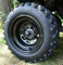 "10"" BLACK Steel Wheels and 18x9.5-10"" Excel Sahara Classic DOT All Terrain Tires Combo"