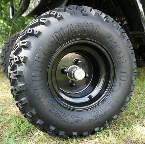 "10"" BLACK Solid Steel Wheels and Excel Sahara Classic 22x11-10"" DOT All Terrain Tires Combo"