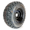 """10"""" BLACK Steel Wheels and 22x10-10"""" EXCEL Trail DOT All Terrain Tires Combo - Set of 4"""