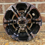 "8"" TERMINATOR Black/ Silver Metallic Golf Cart Hub Caps"