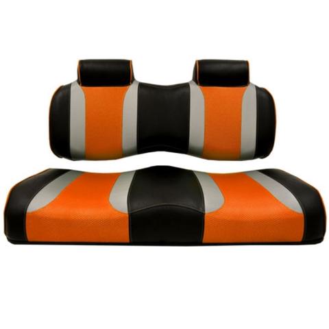 Madjax TSUNAMI Front Golf Cart Seat Cushions in Orange/Silver/Black (Fits all Carts!)
