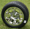 "12"" RALLY Chrome Wheels and Low Profile Tires Combo"