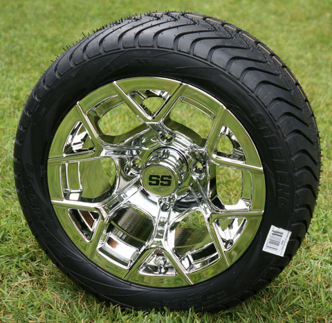"""12"""" RALLY Chrome Wheels and Low Profile Tires Combo"""