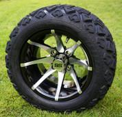 "12"" KRAKEN Machined/Black Aluminum Wheels and 20x10-12"" All Terrain Tires Combo"