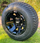 "10"" ATLAS Black Wheels and 205/50-10 Low Profile DOT Tires Combo"
