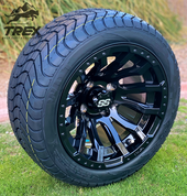 "12"" MAVERICK Gloss Black Aluminum Wheels and 215/40-12 Low Profile DOT Tires Combo"