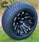 "12"" MAVERICK Gloss Black Aluminum Wheels and 215/40-12 Low Profile DOT Tires Combo"