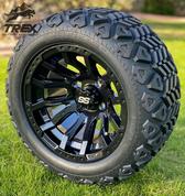 "12"" MAVERICK Gloss Black Aluminum Wheels and 20x10-12"" DOT All Terrain Tires Combo"