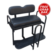 EZGO TXT / Medalist / PDS Golf Cart Rear Seat Kit - BLACK (Flip Seat w/ Cargo Bed & FREE Grab Bar)
