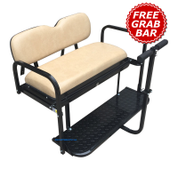 EZGO TXT/ Medalist / PDS Golf Cart Rear Seat Kit - TAN (Flip Seat w/ Cargo Bed & FREE Grab Bar)