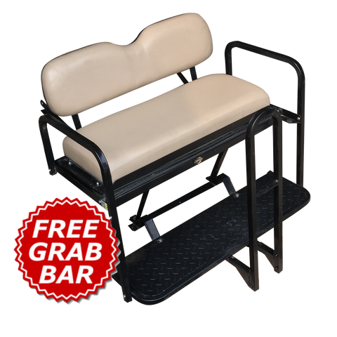 EZGO RXV Golf Cart Rear Seat Kit - STONE (Flip Seat w/ Cargo Bed & FREE Grab Bar)