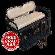 EZGO RXV Golf Cart Rear Seat Kit - STONE (Flip Seat w/ Cargo Bed & FREE Grab Bar)