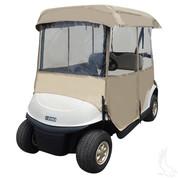 Deluxe Driveable 2-passenger Golf Cart Enclosure - Standard Factory Tops - TAN