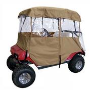 Deluxe Driveable 2-passenger Golf Cart Enclosure - TAN