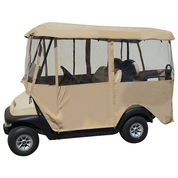 Deluxe Driveable 4-passenger Golf Cart Enclosure - TAN
