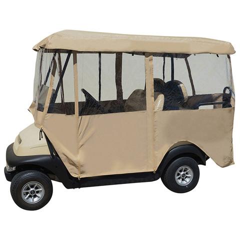 Deluxe Driveable 4-passenger Golf Cart Enclosure - TAN