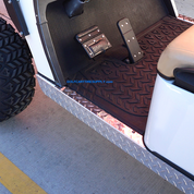 EZGO TXT Golf Cart Rocker Panels - Polished Aluminum Diamond Plate