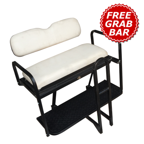 Club Car Precedent Golf Cart Rear Seat Kit - WHITE (FACTORY) (Flip Seat w/ Cargo Bed & Free Grab Bar)