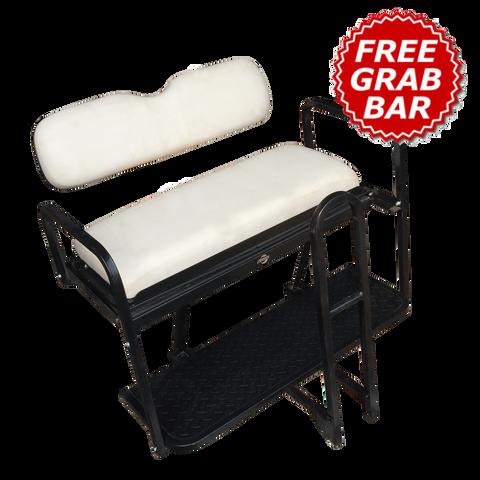 Club Car Precedent Golf Cart Rear Seat Kit - WHITE (FACTORY) (Flip Seat w/ Cargo Bed & Free Grab Bar)