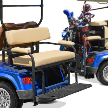 EZGO RXV 2-in-1 Combo Rear Seat Kit (allows use of Golf Bags) - in Stone Beige or White