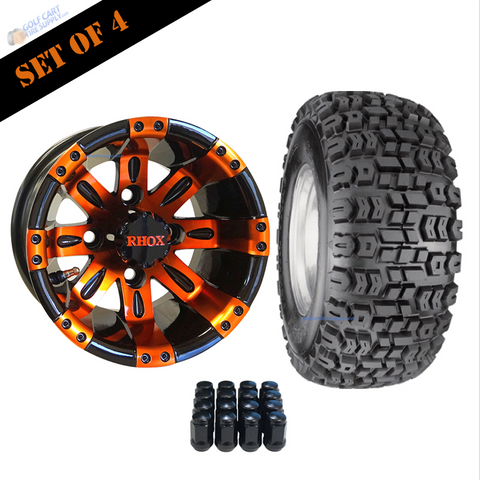 "10"" VEGAS Wheels and 18x8.5-10"" Kenda All Terrain Tires Combo - ORANGE"