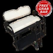 Club Car Precedent Golf Cart Rear Seat Kit - PURE WHITE (Flip Seat w/ Cargo Bed & Free Grab Bar)