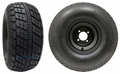 "RHOX RXFG 20x8.5-8"" Golf Cart Tires and 8"" Black Steel Wheels Combo - Set of 4"