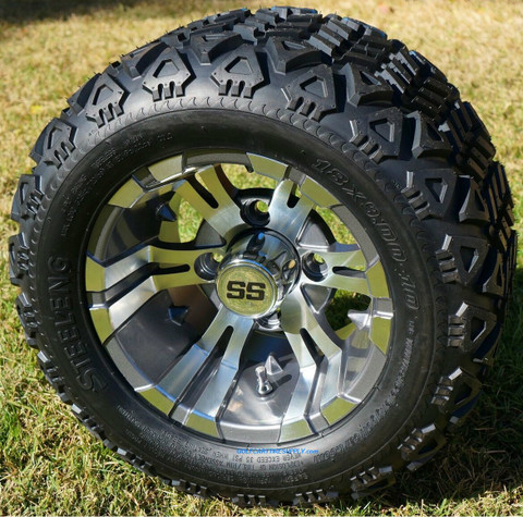 "10"" VAMPIRE Gunmetal Golf Cart Wheels and 18x9-10 DOT All Terrain Golf Cart Tires Combo"