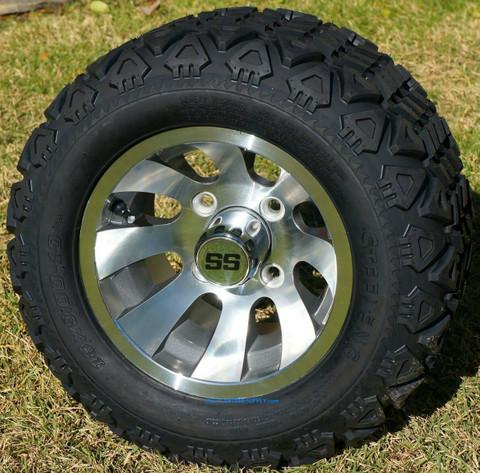 """10"""" REVOLVER Gunmetal Golf Cart Wheels and 18x9-10 DOT All Terrain Golf Cart Tires Combo"""