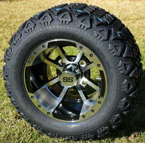 """10"""" STORM TROOPER Golf Cart Wheels and 18x9-10 DOT All Terrain Golf Cart Tires Combo"""