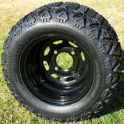 """10"""" BLACK Steel Wheels and 18x9-10"""" DOT All Terrain Tires Combo - Set of 4"""