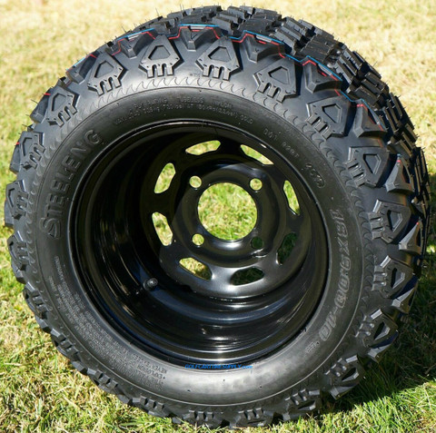 "10"" BLACK Steel Wheels and 18x9-10"" DOT All Terrain Tires Combo - Set of 4"