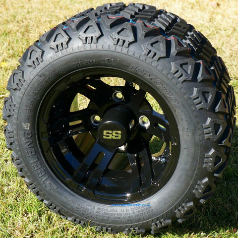 "10"" BULLDOG BLACK Golf Cart Wheels and 18x9-10 DOT All Terrain Golf Cart Tires Combo"